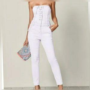 Venus: White jeans/denim jumpsuit